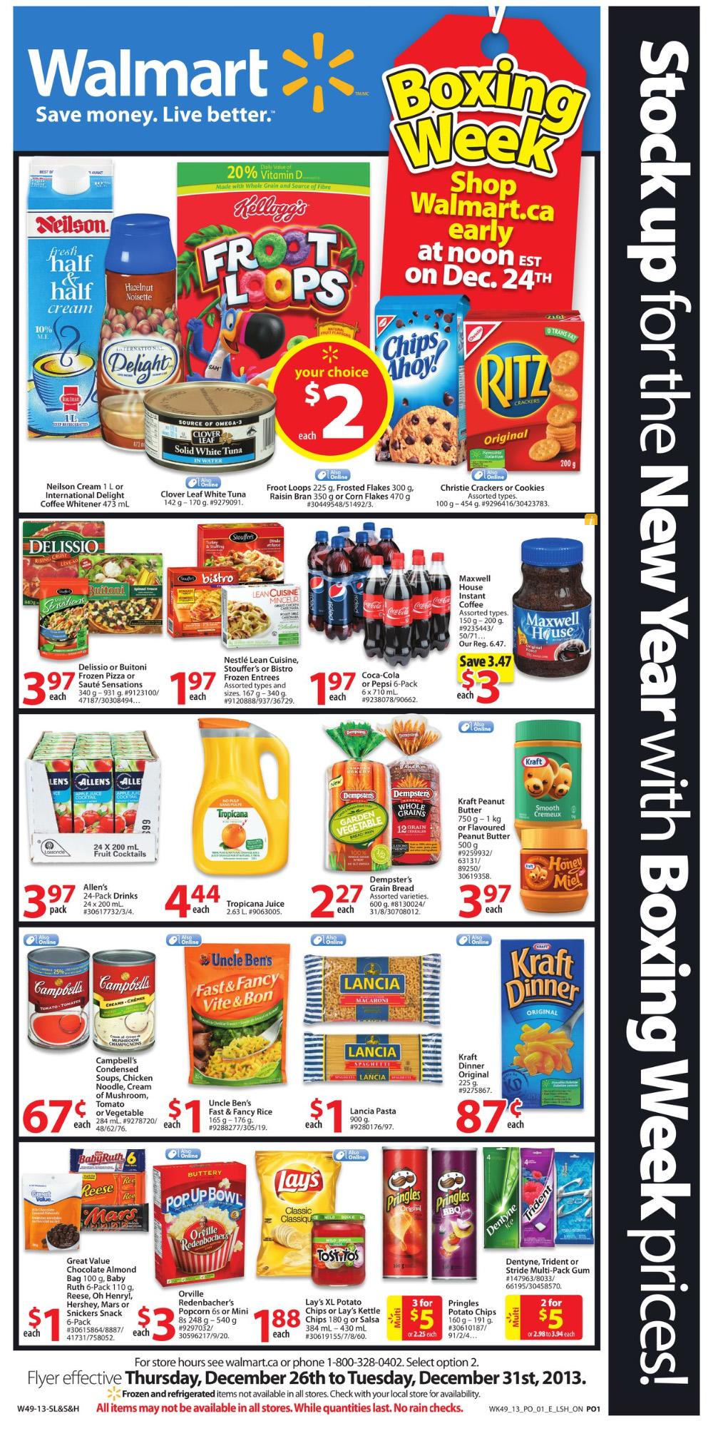Walmart grocery boxing week 2013 sale flyer